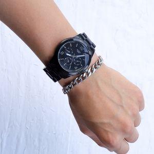 Chunky black Guess steel waterproof watch